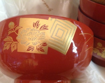 set of 6 vintage red & gold lacquered plastic footed bowls Eastern Asian Oriental Japanese inspired
