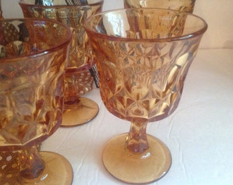 6 vintage gold stemmed footed cut pressed glasses