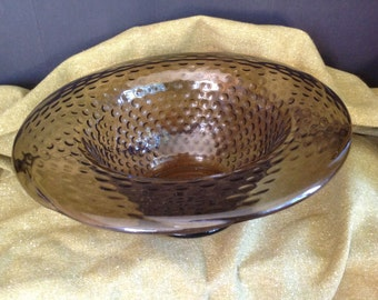 large decorative bowl in smoke gray green & hobnail texture