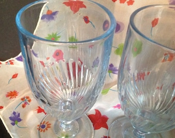 set of 4 vintage clear light blue glass footed base swirl design