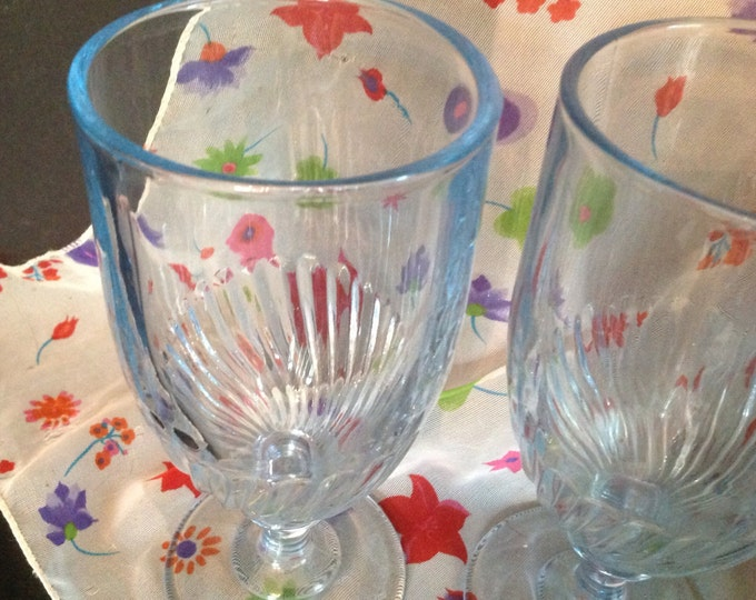 Featured listing image: set of 4 vintage clear light blue glass footed base swirl design