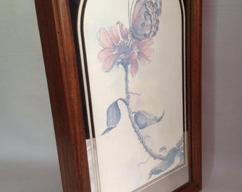 vintage mirror matted wood framed butterfly watercolor art print by Casey early 80's for Home Interiors