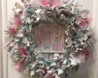 """Spring seasonal rag wreath fabric and ribbon round 14"""" metal frame with wood sign """"Enjoy the Little Things"""" with bicycle"""
