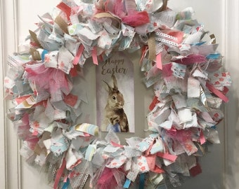 "Easter holiday rag wreath fabric and ribbon round 14"" metal frame tin metal tag with watercolor bunny rabbit"