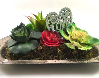 faux succulent plant floral arrangement in vintage silver plated tray with wood heart