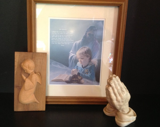 Featured listing image: Jesus with young praying boy print & wooden angel plaque and plaster praying hands