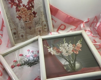 Set of 3 vintage l980's floral wall art orchids gladiolus roses in jars and vases photographic still life framed under glass