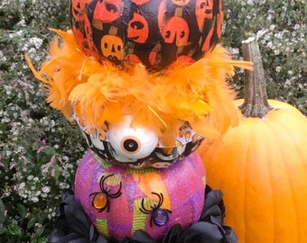 topiary of  3 stacked decorated halloween holiday pumpkins paper decoupage on tin cemetery planter urn with vintage tag  and more!