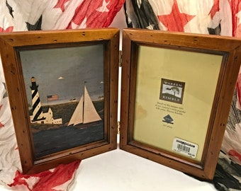Warren Kimble folk art Americana vintage country 5 x 7 double photo frame nautical sailboat and lighthouse at coast distressed wood