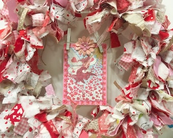 "Valentine's Day rag wreath fabric and ribbon round 12"" frame handmade fairy card banner"