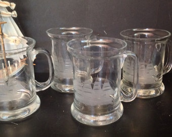 set of 4 vintage etched ship clear glass mugs