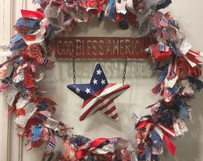 Featured listing image: rag wreath fabric and ribbon patriotic American Summer Memorial Labor Day 4th of July tin metal sign 'God Bless America' with 3D flag star