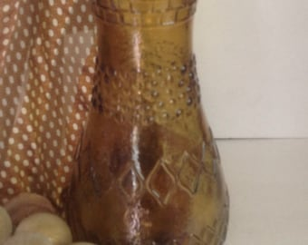 vintage retro vase amber gold textured patterns glass Italy