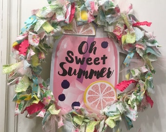 "rag wreath fabric and ribbon 14"" sweet Summer time pink lemonade tropical theme with MDF 11"" ball jar glass mug sign plaque"