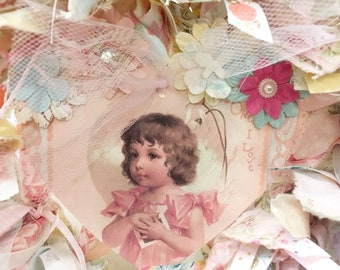 "rag wreath heart shaped Romantic love pastel floral with little girl hanging decorated card Valentine's and all year on 12"" metal frame"