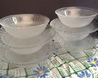 6 sets of clear cut glass plates and bowls