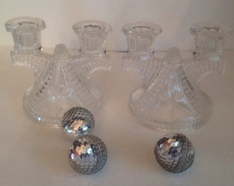 vintage midcentury pair of cut pressed glass double tapered candleabra holders buffet centerpiece
