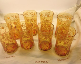 set of 8 vintage amber drink glasses Chinese lantern bloom and vine pattern in variegated yellow orange and red