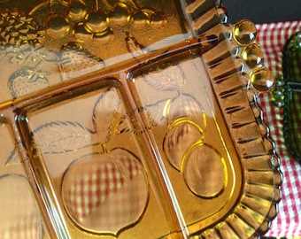 Pair of vintage cut glass divided plates serving trays with fruit motif 1 gold 1 green