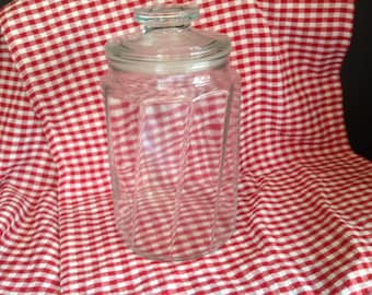 large old-fashioned candy type apothecary storage jar rubber stopper swirl design