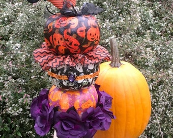 topiary of 3 stacked decorated halloween holiday pumpkins paper decoupage on tin cemetery planter charms ribbon and more!