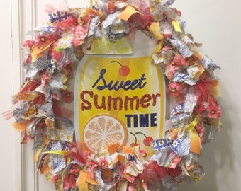 "rag wreath fabric and ribbon 14"" sweet Summer time yellow lemonade theme primary colors with MDF 11"" ball jar glass mug sign plaque"