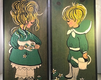 pair vintage 1967 country garden boy and girl painted on pine wood panel decorative wall hangings