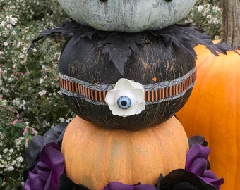 topiary of  3 stacked halloween holiday pumpkins chalk painted on white ceramic urn with vintage tag topper and more!