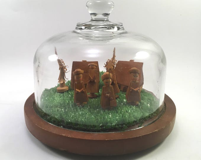 Featured listing image: Miniature wooden village scene diorama on wood under glass dome cloche vintage Goodwood cheese board