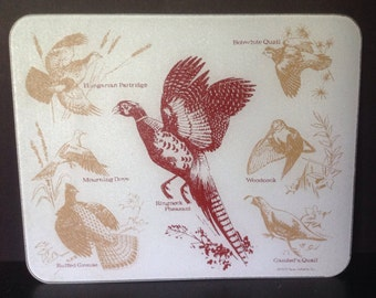 wild hunted game birds vintage l974 large glass reverse paint textured cutting preparation board/tray barware Vance Inc.