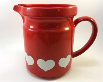 "Waechtersbach Germany large 7"" ceramic pottery pitcher collectible red heart pattern"