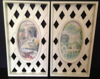 vintage 70's old world- Victorian patio watercolor prints framed in wood-look garden trellis pattern
