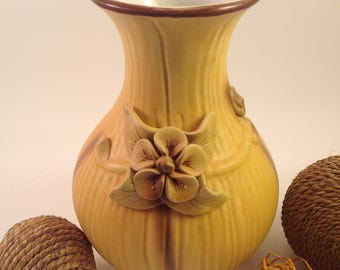 Vintage ceramic and bisque textural flower vase applied floral detail neutral color airbrush paint cottage farmhouse style