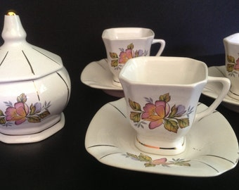 ceramic floral pattern demitasse tea set for 6 with sugar bowl