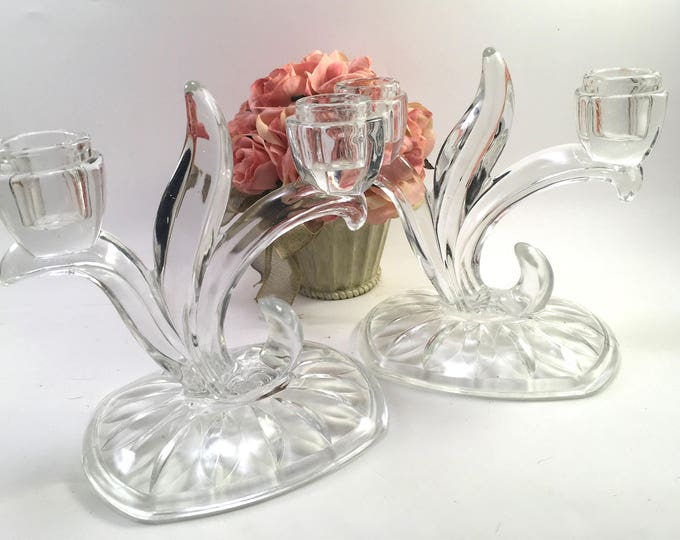 Featured listing image: Pair clear glass double taper candle holders with large oblong cut base, leaves & flower buds