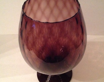 vintage amethyst glass vase compote large foot scalloped edge diamond relief pattern