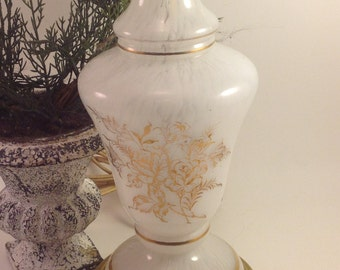 white opalescent vintage glass vanity lamp gold floral motif & banding on a brass tone base