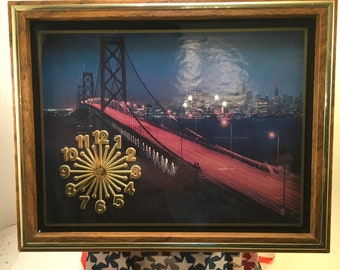 Retro vintage wall clock photo of San Francisco-Oakland Suspension Bridge and city at night oak finish frame under acrylic glass 70's-80's