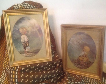 pair vintage prints young boy and girl children urchins at the well rainbow & sunlight by G. Ranck linen-look mats gold frames