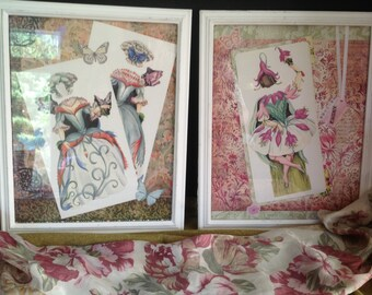 framed paper art with fairy paper doll costumes