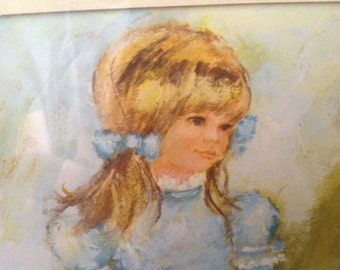"vintage framed 70's print of young prairie girl by M. Storm marked ""Decorative Arts"""