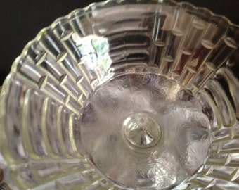 vintage clear cut glass stemmed compote