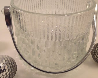 Vintage crystal small ice bucket stainless steel handle mini chevron and drippy ice textural designs Teleflora in France
