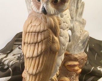 "70's musical owl music box bisque rustic outdoor stump scene plays ""Born Free"" pull cord to play"