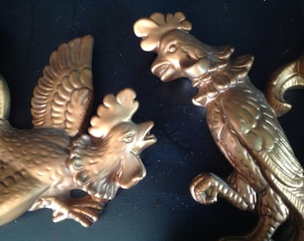 vintage l950s plaster chalk ware pair of roosters/cocks/birds wall hangings copper color