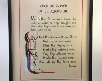 vintage Evening Prayer of St. Augustine Christian Roman Catholic patron saint calligraphy on parchment art deco style professionally framed