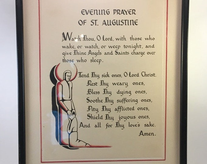 Featured listing image: vintage Evening Prayer of St. Augustine Christian Roman Catholic patron saint calligraphy on parchment art deco style professionally framed