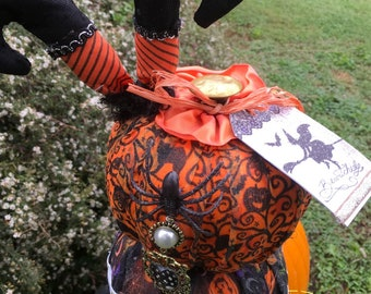 topiary of  3 stacked decorated halloween holiday pumpkins fabric decopague on pedestel with vintage tag topper and more!