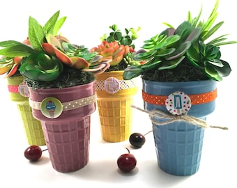 Choice faux succulent plant arrangement in pink or green ceramic ice cream cone with decorative ribbon and button