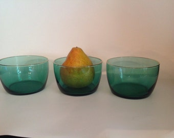 set of 3 vintage juniper green clear  glass deep bowls with gold rim